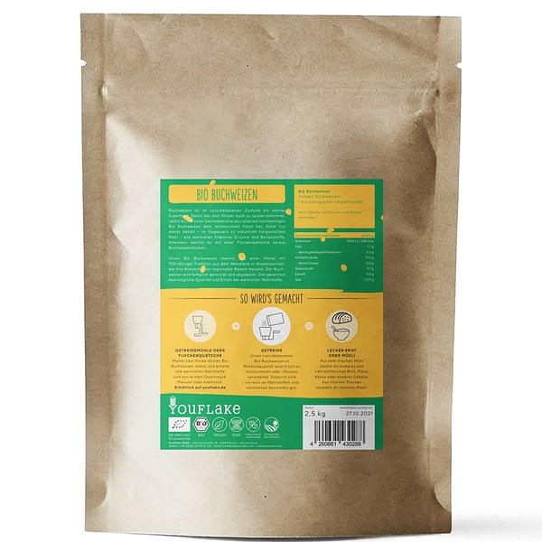 YouFlake Bio Buchweizen BIO Getreide 2,5 kg Rückseite