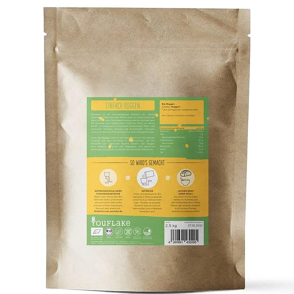 YouFlake Einfach Roggen BIO Getreide 2,5 kg Rückseite