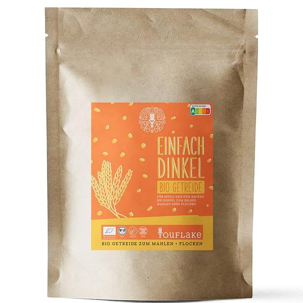YouFlake Einfach Dinkel BIO Getreide 2,5 kg Vorderseite
