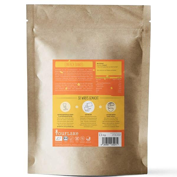 YouFlake Einfach Dinkel BIO Getreide 2,5 kg Rückseite