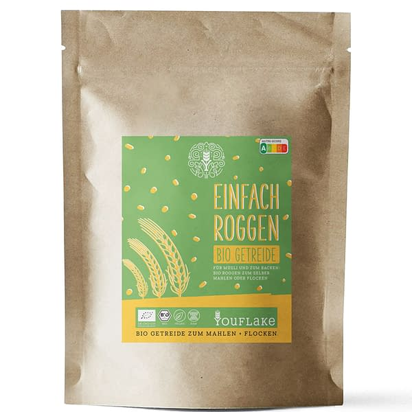 YouFlake Einfach Roggen BIO Getreide 2,5 kg Vorderseite
