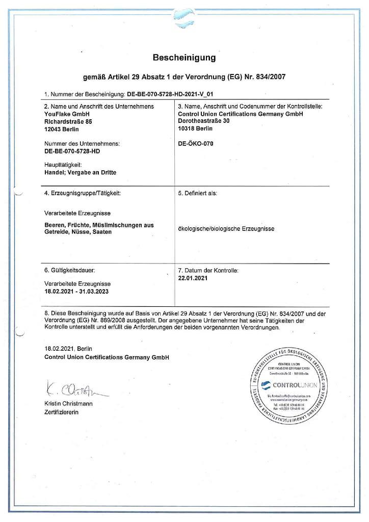 YouFlake Bio-Zertifizierung bis 31.03.2023